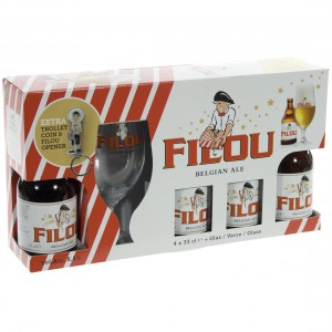 Filou Geschenkverpakking  33 cl  4 fles + 1glas+ gadget