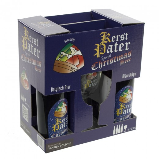 Pater Lieven Kerst Geschenkverpakking  33 cl  4fles+ 1glas