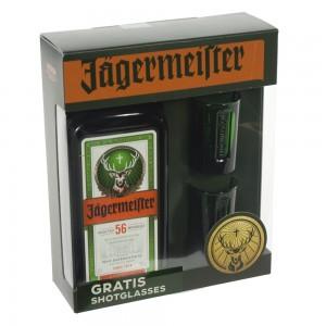 Jaegermeister geschenkverpakking + 2 glazen  70 cl