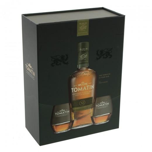 Whisky Tomatin 12Y+2 glazen  70 cl  1fles + 2glazen