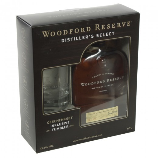 USA Whisky Woodford Giftset  70 cl  1fles+1glas