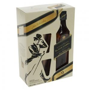 Johnnie Walker Black Label 12Y Giftpack  70 cl  1fles + 2glazen