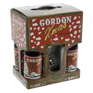 Gordon X-Mas geschenk  33 cl  4fles+ 1glas