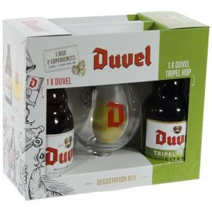 Duvel/ Duvel tripel hop geschenkverpakking  2fles+ 1glas
