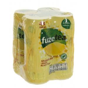 Fuze Tea BLIK  Black Sprankling  33 cl  Blik 4 pak
