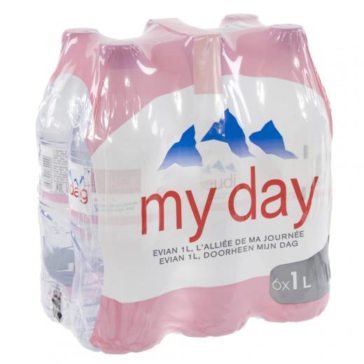Evian PET  Plat  1 liter  Pak  6 st