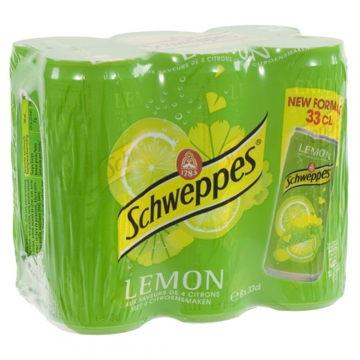 Schweppes lemon blik  Regular  33 cl  Blik  6 pak