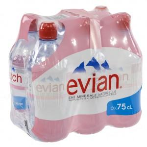Evian PET  Plat  75 cl sportdop  Pak  6 st