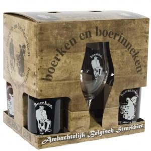 Boerke en boerinneke geschenk  33 cl  4fles + 2glas