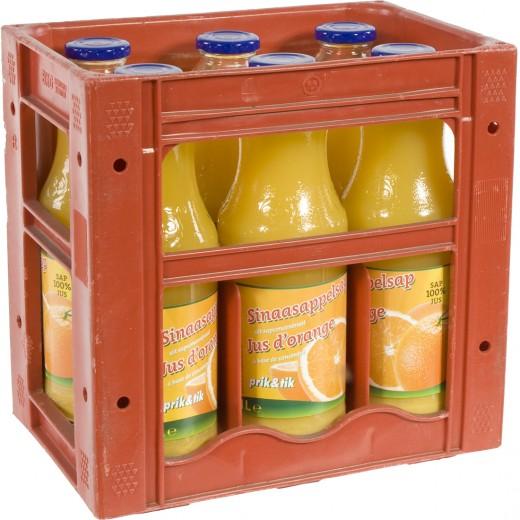 Prik & Tik fruitsap  Sinaas  1 liter  Bak  6 fl