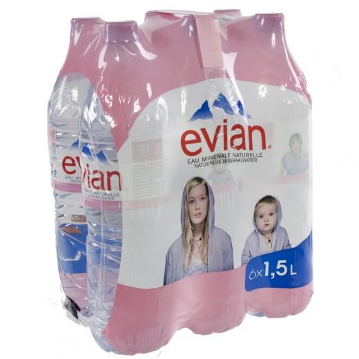 Evian PET  Plat  1,5 liter  Pak  6 st