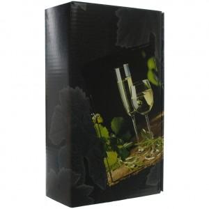 Verpakking doos 2 glazen wijn  2 Flessen