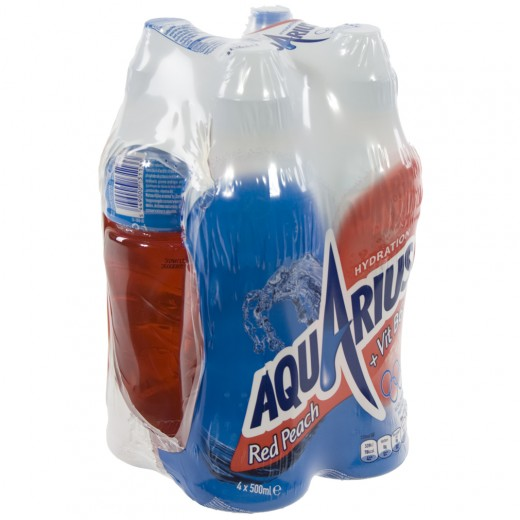 Aquarius  Red Peach  50 cl  Pak  4 st