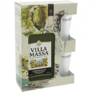 Limoncello Villa Massa 30%  50 cl  1fles + 2glazen