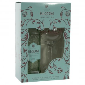 Bloom London Dry gin geschenk  1fles+1glas