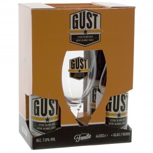 Gust geschenkverpakking  33 cl  4fles+ 1glas