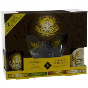 Grimbergen Giftpack  33 cl  4fles + 2glas