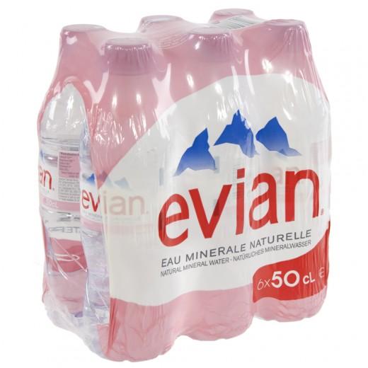 Evian PET  Plat  50 cl  Pak  6 st