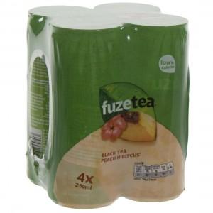 Fuze Tea BLIK  Black Peach Hibiskus  25 cl  Blik 4 pak