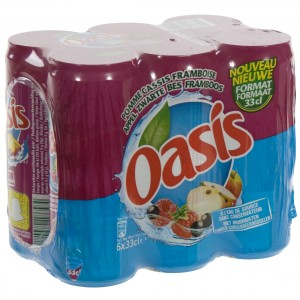 Oasis BLIK  Framboos  33 cl  Blik  6 pak