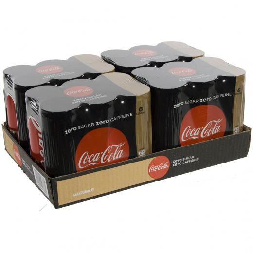 Coca Cola  Zero Caffeine vrij  25 cl  Blik 24 pak