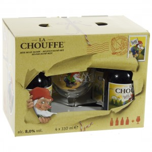 La chouffe geschenkverpakking  33 cl  4fles+ 1glas