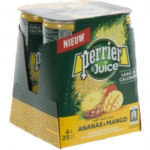 Perrier Limonade BLIK  ananas & mango  25 cl  Blik 4 pak