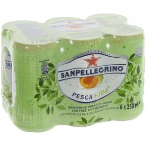 San Pellegrino Pesca + Tea  Blik  6 pak