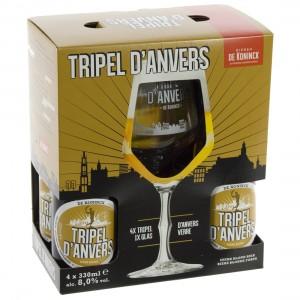 Triple d'anvers geschenkverpakking  33 cl  4fles+ 1glas