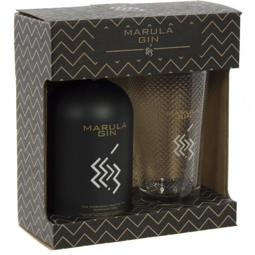 Marula gin geschenk  50 cl  1fles+1glas